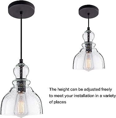 Mini Retro Industrial Chandelier, Hand Blown Transparent seeded Glass lampshade, Kitchen Island Dining Room Kitchen Adjustabl