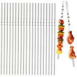 N/S 20 Piezas Brochetas de Kebab Brochetas para Barbacoa de Metal Juego Pinchos Barbacoa Largos Pinchos Barbacoa Acero Inoxidable Reutilizables para Barbacoas, Shish Kebab, Pollo y Camarones (33 cm)