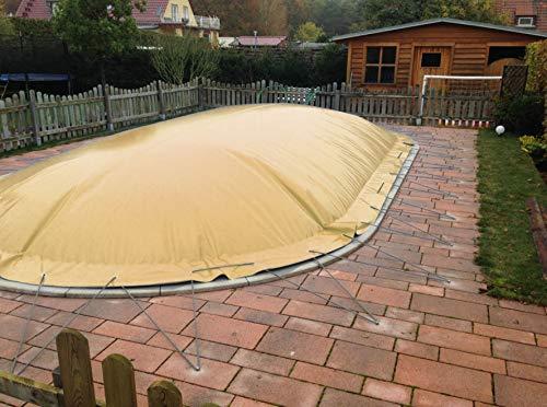 Aufblasbare Abdeckplane für Pool ovalform 3,00 x 5,00m, Farbe: Sand, Air Cover, wasserdicht, reißfest