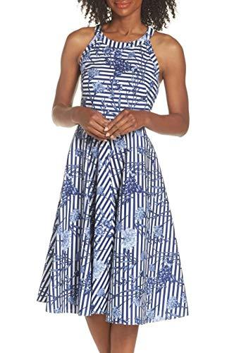 Eliza J Women's Striped Fit and Flare Halter Dress, Blue, 14