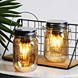 2-Pack Mason Jar Lights Hanging, Cordless Lanterns for Patio, Battery Operated Tabletop Lamp with LED Bulb, Outdoor Indoor Decor for Garden Camping Picnic Party Cabin Fireplace Hallway Stairs (2Amber)