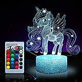 Unicornio luz nocturna para niños, juguetes de unicornio para niña, 16 colores cambiantes lámpara de noche con mando...
