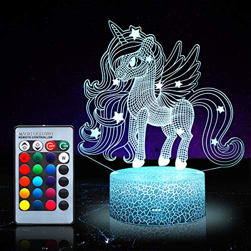 Einhorn Nachtlicht für Kinder, Einhorn Spielzeug für Mädchen, 16 Farben wechselnde Nachtlampe mit Fernbedienung (Einhorn 1171)
