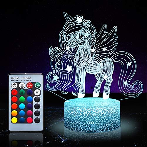 Unicornio luz nocturna para niños, juguetes de unicornio pa