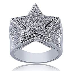 14K Gold Plated Iced Out Diamond 3D Star Rappers White Gold Ring