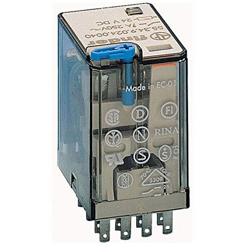 Finder serie 55 - Rele industrial 12vdc 4 contactos 5a pulsador +indicador