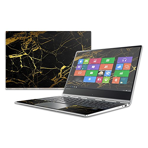 Mightyskins Skin Compatible with Lenovo Yoga 910 14' Wrap Cover Sticker Skins Black Gold Marble