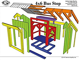 Step-By-Step DIY PLANS - Timber Frame Post and Beam Shelter Plans - 4x6 Bus Stop - Small Outside Shelter with Built-in Bench - Step-By-Step DIY Plans