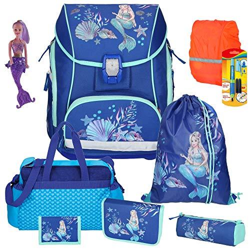 Spirit Mermaid Meerjungfrau Pro Light - Leicht-Schulranzen-Set mit BLINKENDEM LED-Schloss 9tlg. mit Sporttasche Regensicherheitshülle - Meerjungfraufigur und Füller GRATIS