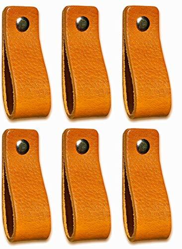 Tiradores de Cuero | Amarillo Ocre / 6 piezas | 16,5 x 2,5 cm | Piel de Granos | 3 tornillos de color - tiradores para Accesorio de Mobilario, armario, cajón, puerta