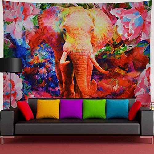 Elephant Tapestry Watercolor Floral Tapestry Trippy Peony Flowers Tapestry Bohemian Colorful Plants Tapestry Wall Hanging Hippie Boho Wall Decor for Living Room