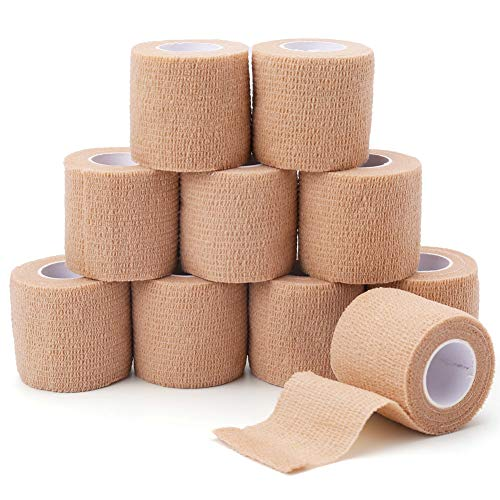 Self Adherent Cohesive Wrap Bandage, 2in x 5 Yards, 10 Rolls, Breathable Self Adherent Wrap for People & Pets, Cohesive Tape, Athletic Elastic Cohesive Bandage for Sports Injury Ankle, Wrist Sprains