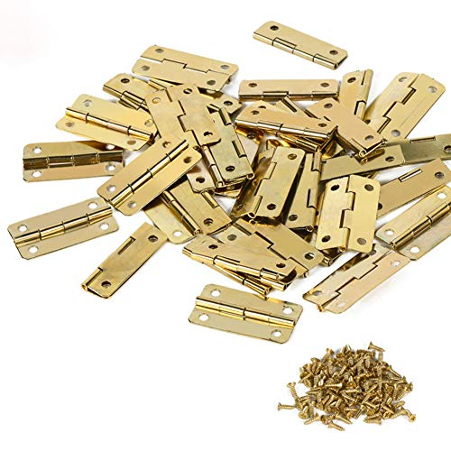 50 bisagras pequeñas de acero inoxidable, con 200 conectores, bisagras traseras para armario, cajón, puerta, baúl