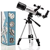 SkySpy Astronomy Telescope for Kids & Adults - 70mm Refractor KidsTelescope with Finder Scope & Tripod - Portable Glass with 3 Magnification Eyepieces -Telescopes for Astronomy Beginners & Adults
