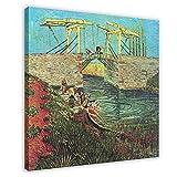 Vincent Van Gogh El puente de Langlois en Arles con las mujeres que se lavan en lienzo para decoraci...