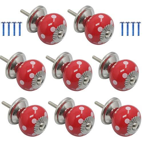 GODNECE Kastknop, vintage knop, set van 8 meubelknopen van keramiek, deurknop vintage voor kast, lade 8 rood