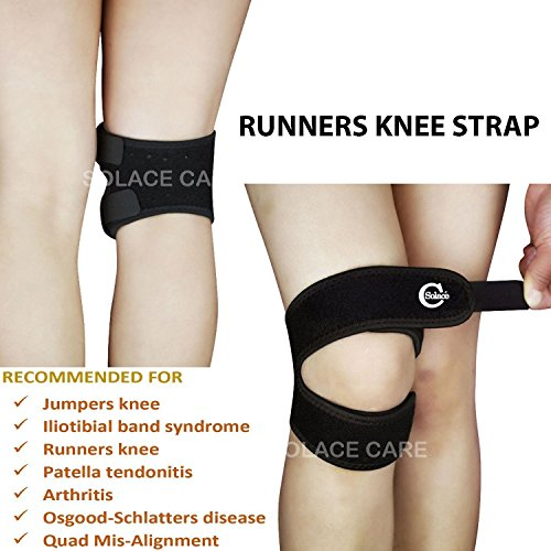 Advance Neopreen Runners Kniebandondersteuning – Compressie Jumper Knie - Quad Alignment & Iliotibial Band Syndrome Band - Strapping for Running | Springen | Outdoors Sports | Kniepijn door Solace Care Eén maat Zwart