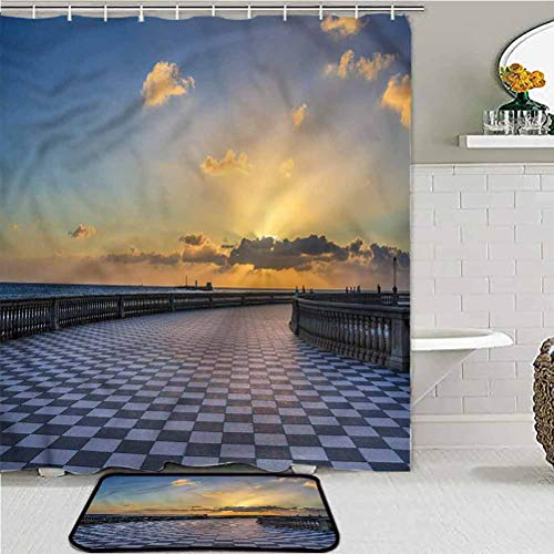 ScottDecor Italian Christmas Bathroom Sets with Shower Curtain and Rugs Leghorn Italy at Sunset vaccuums for Carpet and Floors 60W x 72' L/20 W x 32L Inch