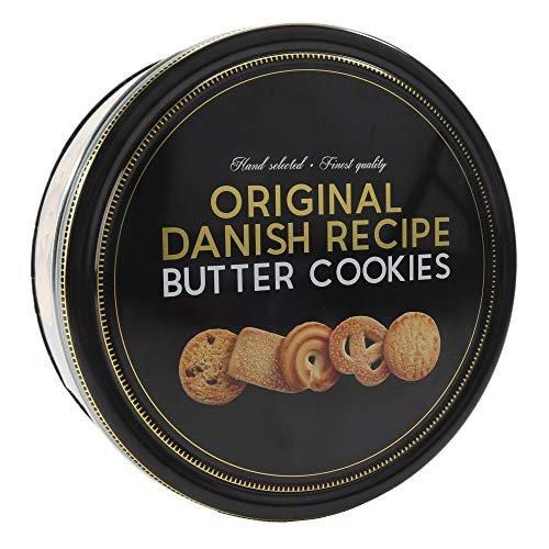 Danish Butter Cookies / Dänische Butter Kekse - Gebäck in edler, schwarz goldenen Dose (1 x 454 g Dose)