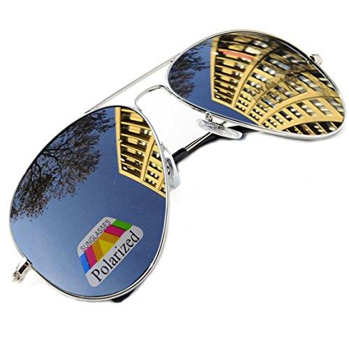 MFAZ Morefaz Ltd Unisex Stile Pilota Occhiali Da Sole Rispecchiata Vetro Polarizzato Uomo Dona Sunglasses Sport (Silver Mirrored)