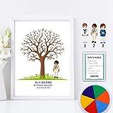 Didart Handmade Cuadro de árbol de huellas con niño de comunión. Varios tamaños y colores de marco.Tintas e instrucciones incluidas. CARTEL E INVITACIONES A JUEGO SI LO DESEAS