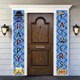 Fathers Day Decorations Porch Sign - Happy Father's Day Banner Front Door Hanging Sign - Fathers Day Party Supplies for Indoor Outdoor