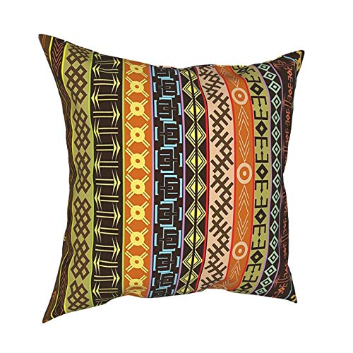 Q&SZ Sweatshirt Ethnic Decor Aztec Tribal Primitive Pattern Effects Geometric Lines Folk Culture Design Brown Green Various Specifications Fashion Pillow - No Inserts Included