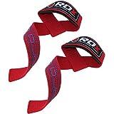 正規品 RDX リストストラップ トレーニング ウェイト リフティング プロシリーズ 筋トレ 滑り止めパッド付き 両手 セット 各色 (レッド)