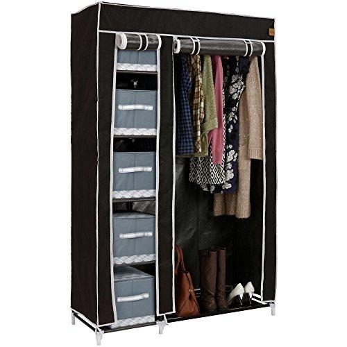 VonHaus Double Fabric Canvas Wardrobe – Temporary Clothes Storage Organiser With 6 Shelves & Hanging Rail – Black Clothes Storage Unit