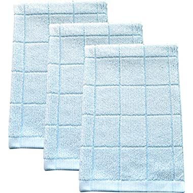 Fabresh Absorbent, Quick-Drying Kitchen Dish Towels | Premium Bamboo and Microfiber Blend for Cleaning, Washing, and Drying | Durable Reinforced Edging | 26  X 16  Sky Blue (Set of 3)