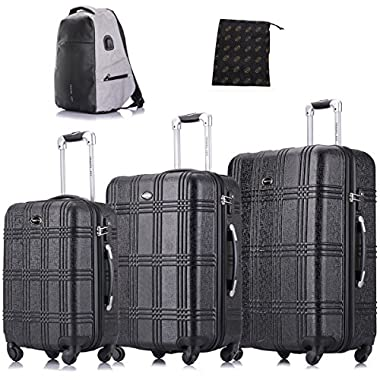 Luggage 3 Piece Set Travel Luggage Set Hardside Expandable Spinner Luggage Sets with Free Gifts, Black