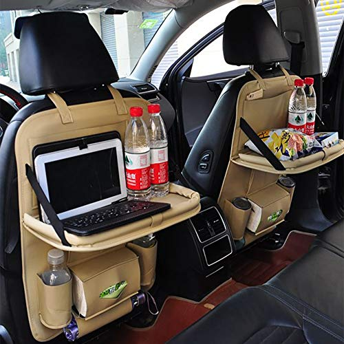 HXA Proteggi Sedili Auto Bambini Organizer Auto con Multi-Tasca e tavolino Pieghevole-4 Porte di Ricarica USB Protezione Sedile Auto Organizer