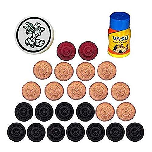 Metallic India Natraj Holz Carrom-Münzen (24 Carrom-Münzen mit 1 Striker und 1 Pulver)