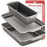Kitchenaid 3 Moule à Gâteau Rectangulaire Moulle Patisserie Carré Cake Grand Four Brownie Gâteau Gateaux Plaque Inox Board De...