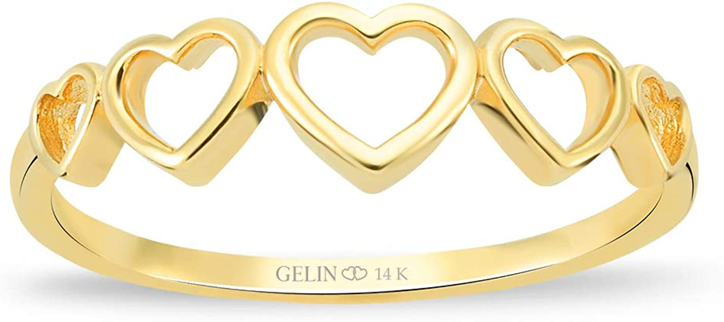 GELIN Open Heart Band Ring in 14k Solid Gold | Eternity Ring for Women | Stacking Rings Jewelry - Size 8