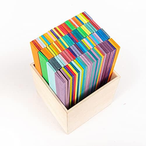 YXYOL 120 Pcs,Stapelspiel,Holzstapelspiel,Ideales Lernspielzeug Kultivieren Sie Die FarberkennungsfäHigkeit Recognition,FüR MäDchen Jungen Koordination Und Zum Bauen In Geschenk
