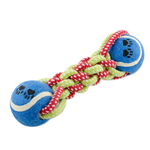 Evelyne GMT-10195 Pet Toy Double Tennis Ball End Tug Braid Rope Chew - Colors Vary