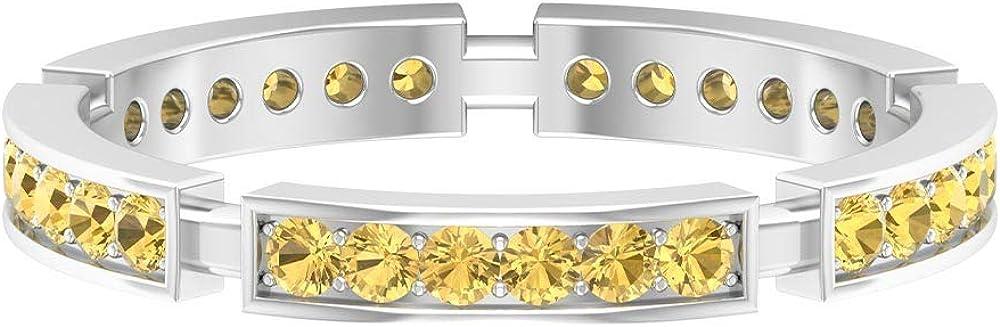 1/2 CT Citrine Band Ring, Wedding Eternity Band, Gold Anniversary Band (1.6 MM Round Shaped Citrine), 14K Gold