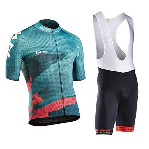 Traje de Ciclismo Hombre Conjunto de Camiseta de Manga Corta MTB Transpirable para Primavera y Verano Jersey + Pantalones Cortos y Babero Acolchado para Ciclismo Deportes al Aire Libre,A,X2XL