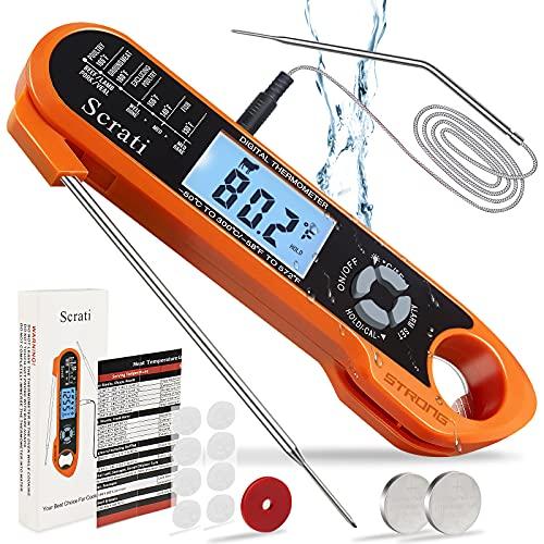 Termómetro de carne digital de lectura instantánea sonda de temperatura de alimentos – con imán calibración termómetro de caramelo impermeable para cocina, parrilla y horno de barbacoa, naranja