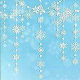 Winter Wonderland - Guirnalda de copos de nieve para colgar en Navidad, Año Nuevo, decoración para el hogar, oficina, escaparate, techo, puerta, mantel, cumpleaños, baby shower, boda