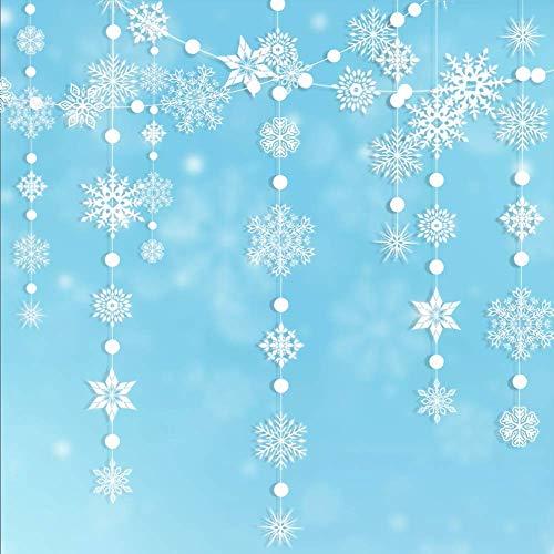 Winter Wonderland Girlande mit Schneeflocken, zum Aufhängen, für Weihnachten, Neujahr, Party-Dekoration für Zuhause/Büro/Vitrine/Decke/Tür/Mantel/Geburtstag/Babyparty/Hochzeit/Weiß