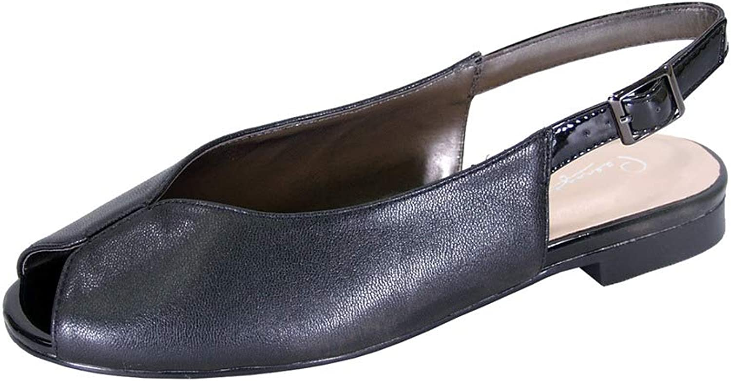 Peerage Eden Women Wide Width Peep Toe Adjustable Slingback Comfort Leather Flat