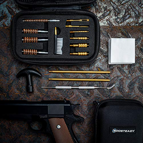 BOOSTEADY Universal Handgun Cleaning kit .22.357.38,9mm.45 Caliber Pistol Cleaning Kit Bronze Bore Brush and Brass Jag Adapter