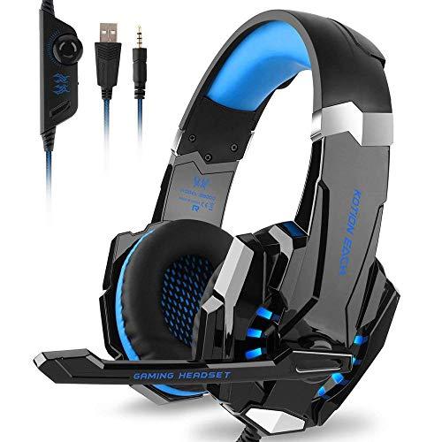 Fbewan Auriculares Gaming con Microfono para PS5/PC/PlayStation 5/Mac, Cascos Gaming con Bass Surround y Cancelacion Ruido con Luz LED, Micrófono y Almohadillas Ajustables con 3.5mm Jack,Azul