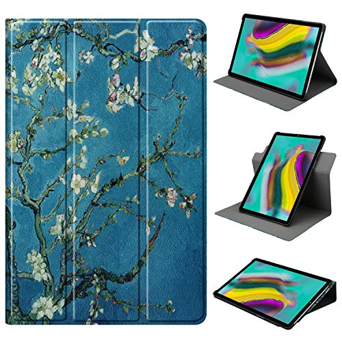 HoYiXi Hülle für Samsung Galaxy Tab A 10.1 360 Grad drehbar Tri-Fold Schutzhülle Ständer Cover für Samsung Galaxy Tab A 10.1 T510 / T515 (2019) - Blume