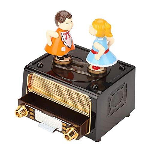 NFRADFM Caja de música,Caja de música de muñeca de pareja,Reproductor de radio Caja de música reloj,Caja de música de ABS para niñas