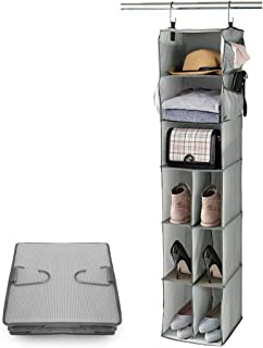 "Marvelent Hanging Closet Organizer, 9 Shelves Hanging Shoe Organizer for Closet with 4 Side Pockets, Breathable No-Woven Fabric, Gray, 12""W×11.5""D×54"