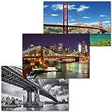 GREAT ART 3er Set XXL Poster – Amerikanische Brücken –