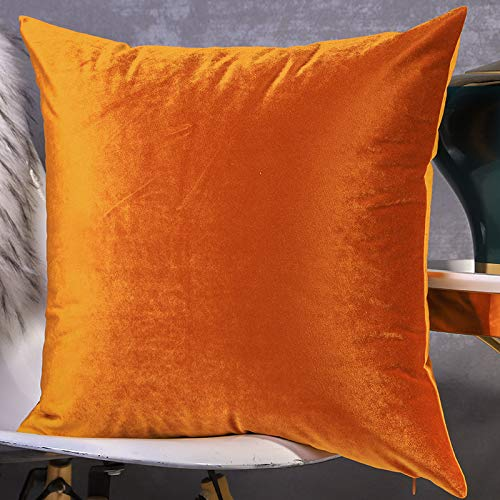 Cushion Covers Throw Pillow Cover Solid Color Velvet Double-Sided Decorative Pillowcase For Living Room Sofa Chair Bedroom 50cm x 50cm(20x20 Inch) (Without Core) Orange